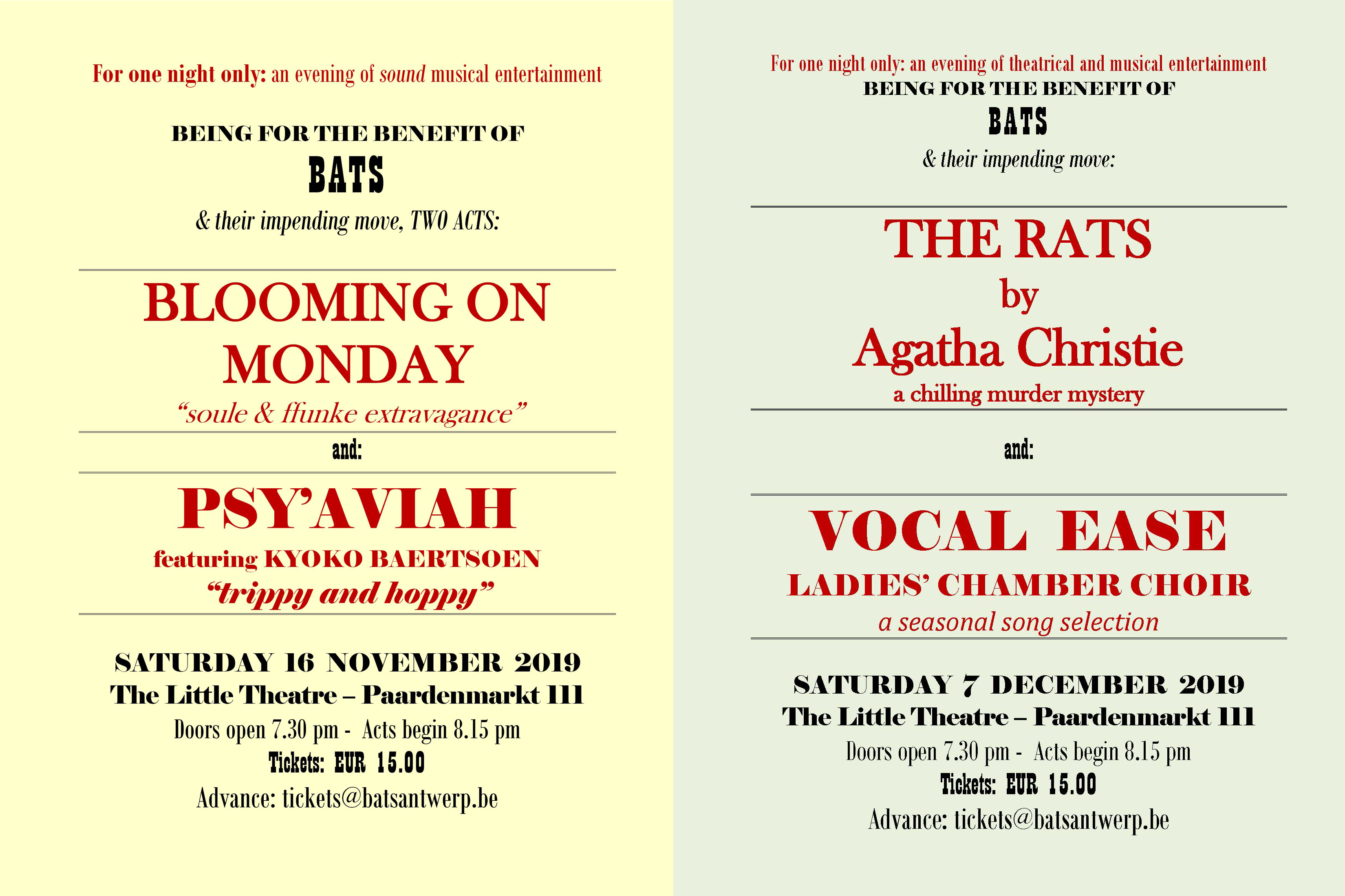 Double Bill - BATS Benefit 2019